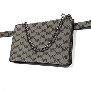 Michael Kors MK Logo Silver Chain Belt Bag NWT
